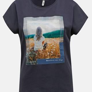 Tmavomodré tričko s potlačou ONLY Maya
