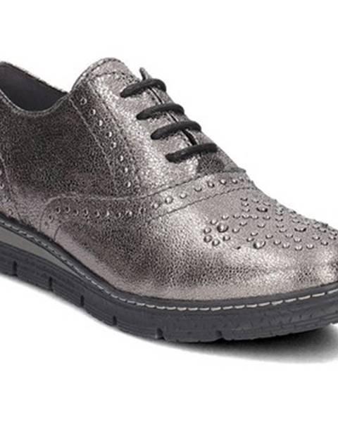 Strieborné topánky Marco Tozzi