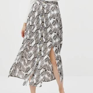 Čereno-biela kvetovaná maxi sukňa Noisy May Miva