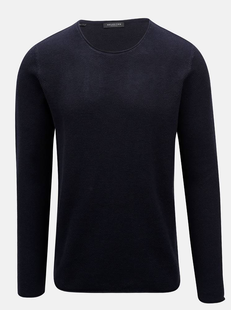 Tmavomodrý sveter s okrúhly...