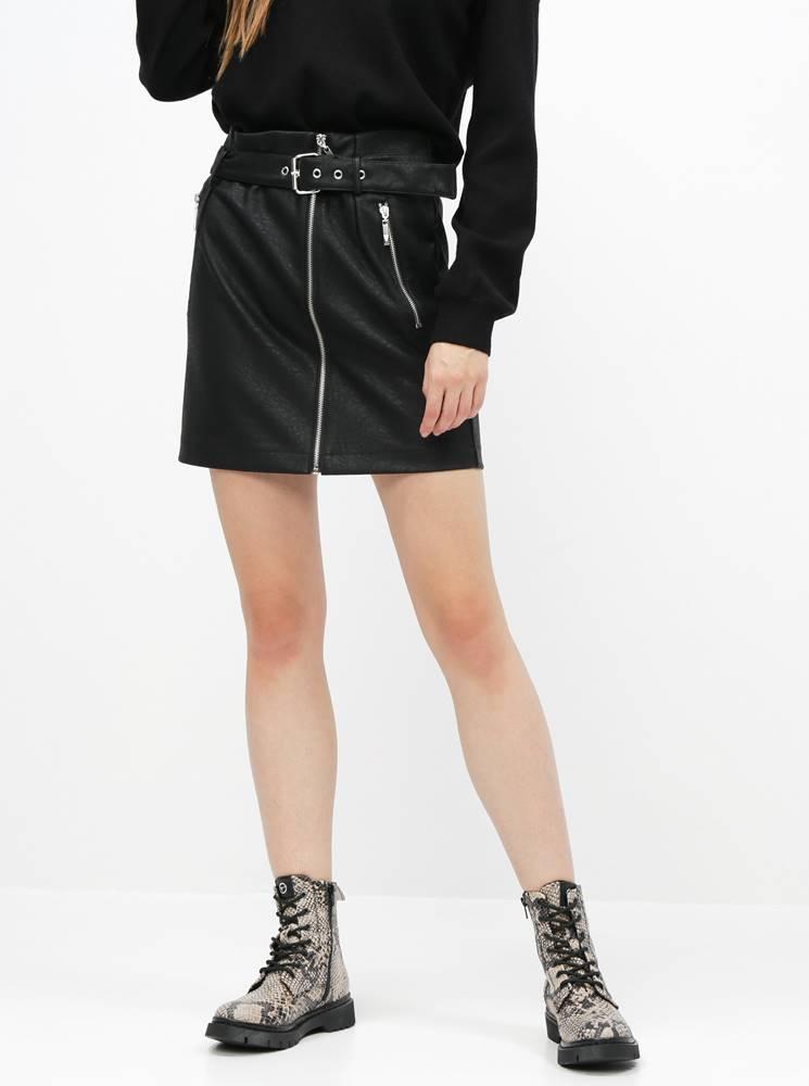 Noisy May Čierna koženková sukňa Noisy May Wilma