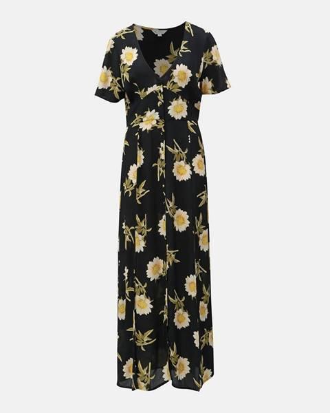 Miss Selfridge Čierne kvetované maxišaty s rozparkami Miss Selfridge