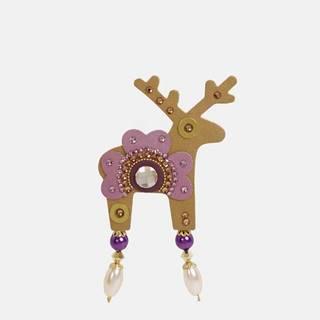 Deers Veľká brošňa v zlatej farbe s kamienkami Preciosa Components Deers Roveroni