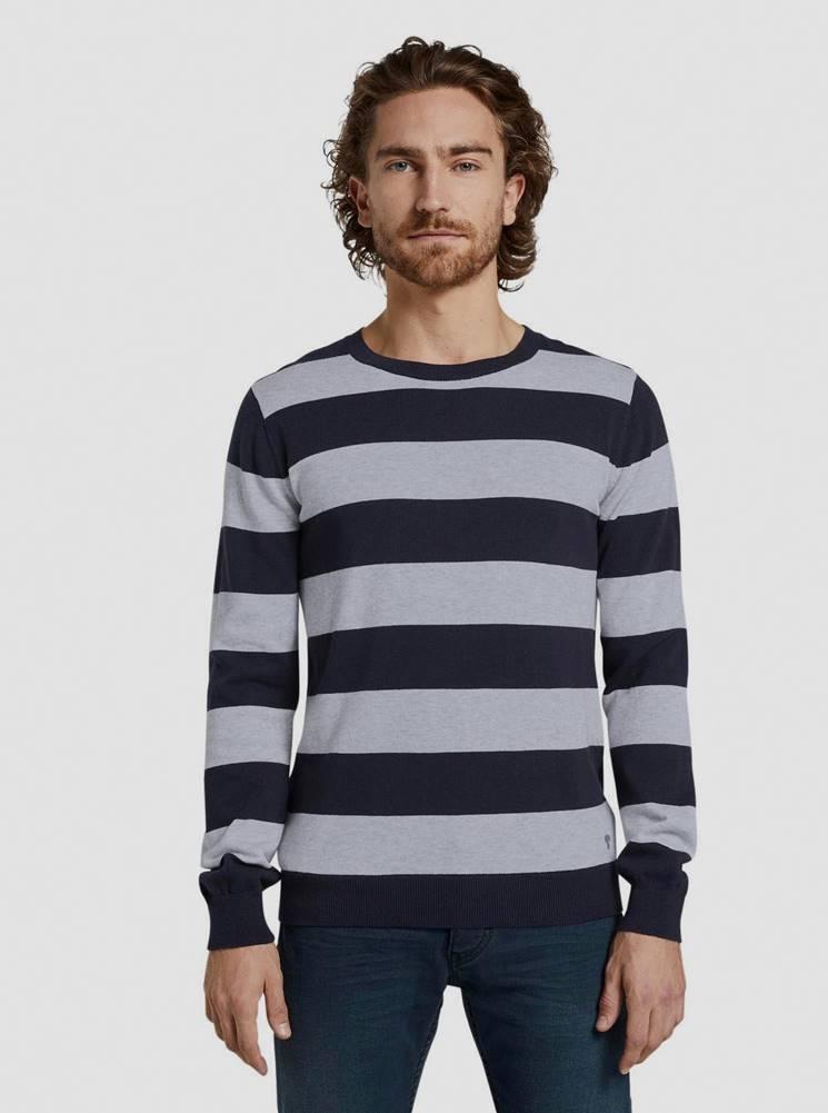 Tom Tailor Šedo-modrý pánsky pruhovaný sveter Tom Tailor