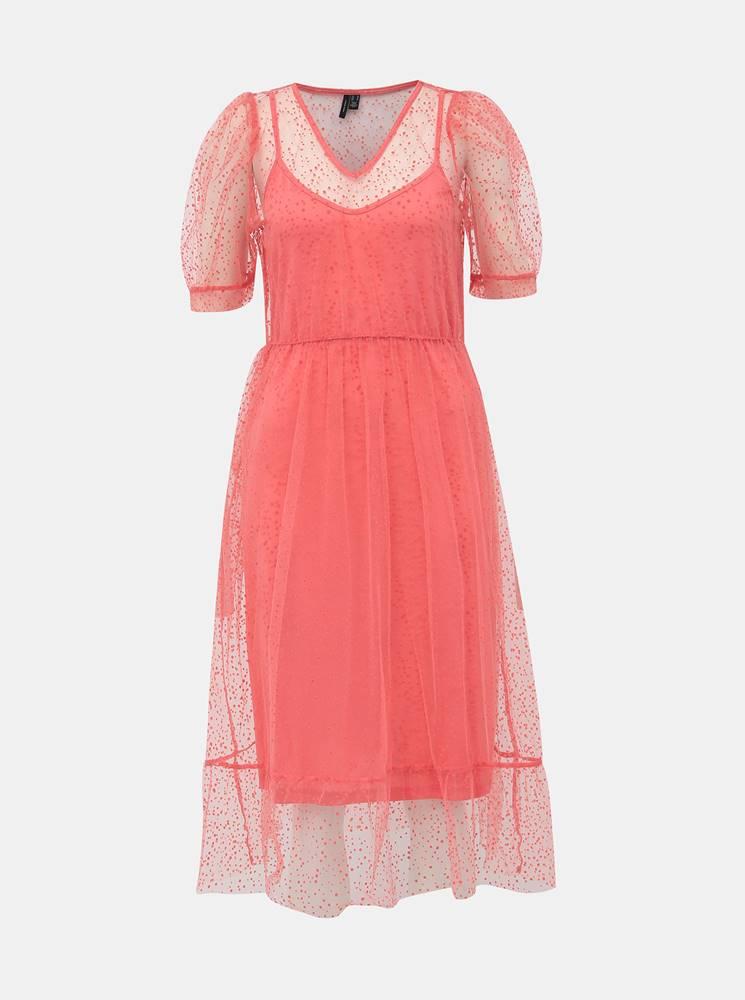 Vero Moda Rúžové bodkované šaty VERO MODA Masha