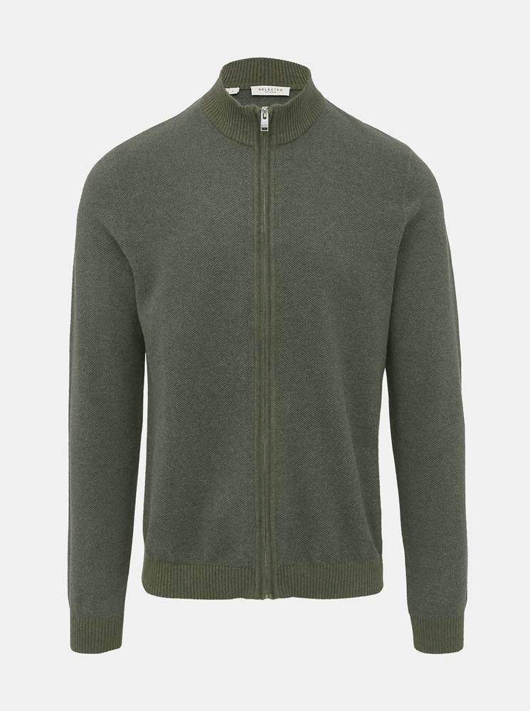 Selected Homme Kaki sveter na zips Selected Homme Fernando