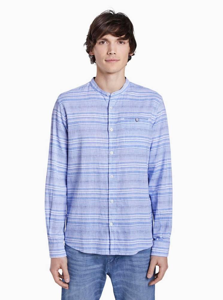Tom Tailor Modrá pánska pruhovaná ľanová košeľa Tom Tailor