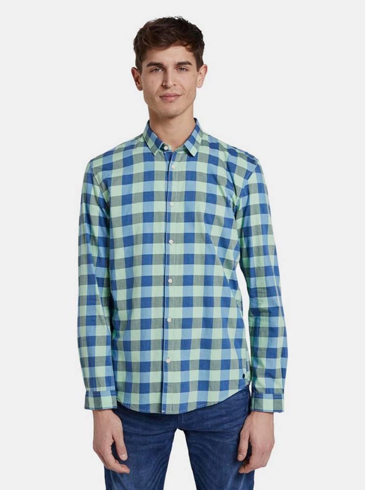 Tom Tailor Denim Modro-zelena pánska kockovaná košeľa Tom Tailor Denim