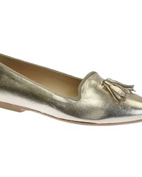 Zlaté balerínky Leonardo Shoes